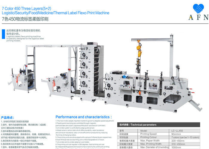 7 Colors Three Layers Automatic Printing Machine 1000mm Max Unwinding Diameter